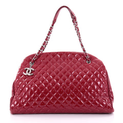 Chanel Just Mademoiselle Handbag Quilted Patent Maxi Red