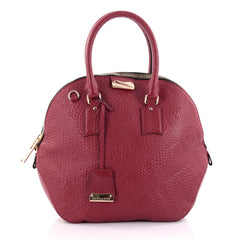 Burberry Orchard Bag Embossed Check Leather Medium Red 2439301