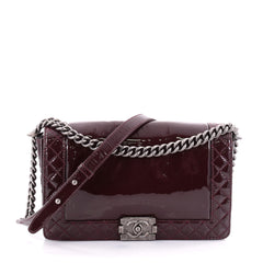 Chanel Reverso Boy Flap Bag Patent New Medium Red