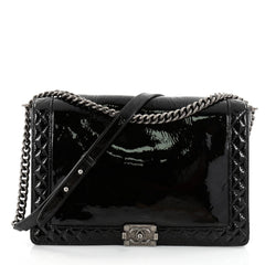 Chanel Reverso Boy Flap Bag Patent Large Black