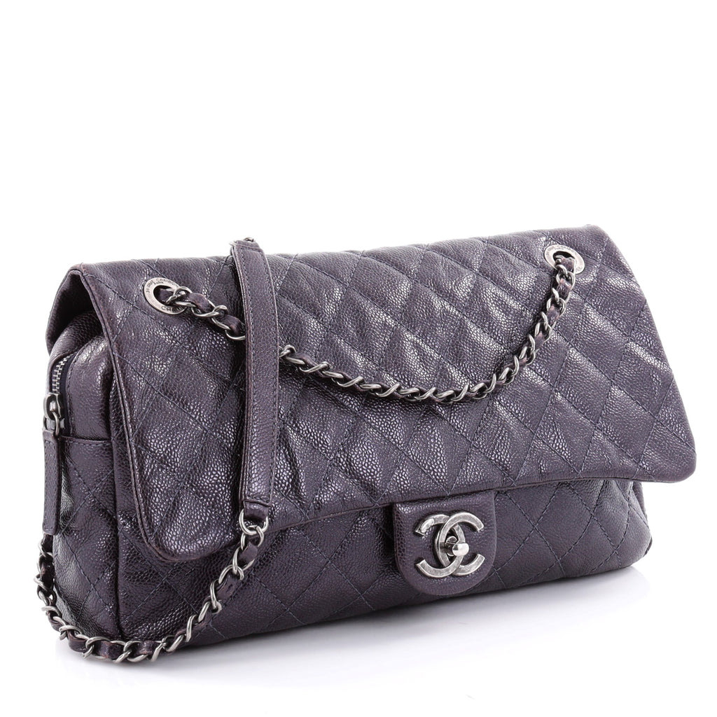 af66341be224b5 Buy Chanel Easy Flap Bag Quilted Caviar Jumbo Purple 2442101 – Rebag
