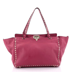 Valentino Rockstud Tote Soft Leather Medium Pink 2443305