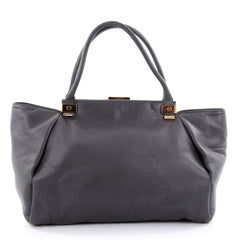 Lanvin Trilogy Convertible Satchel Leather Small Gray 2452802