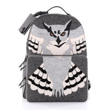 Valentino Owl Backpack Wool and Leather Gray 2454601