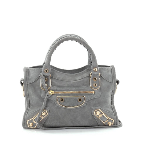 a9ca07105c Buy Balenciaga City Classic Metallic Edge Handbag Suede Mini 2461602 – Rebag