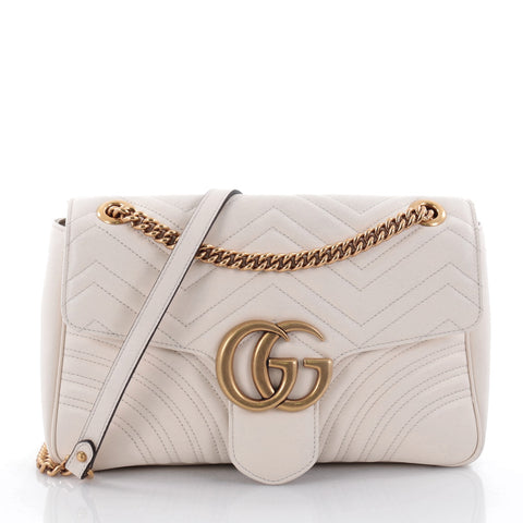 19ee2582a Buy Gucci GG Marmont Flap Bag Matelasse Leather Medium White 2463301 – Rebag