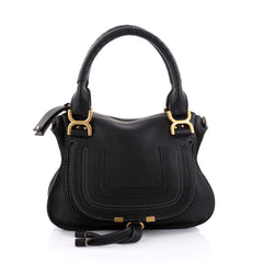 Chloe Marcie Satchel Leather Medium Black 2464002