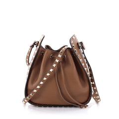 Valentino Rockstud Drawstring Bucket Bag Leather Small Brown 2465401