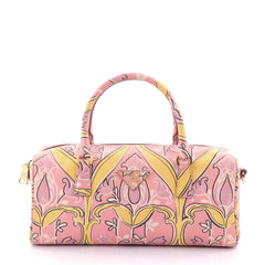 Prada Convertible Bauletto Bag Printed Saffiano Medium Pink 2468608