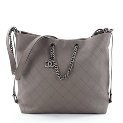 Chanel Messenger Strap Tote Quilted Calfskin Medium Gray 2469102