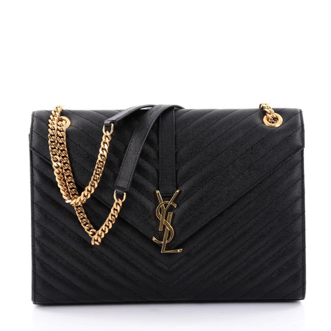 2f1309268070cb Buy Saint Laurent Classic Monogram Satchel Matelasse Chevron 2469401 – Rebag