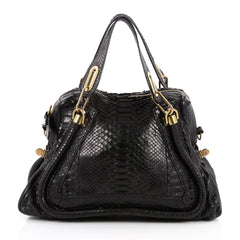 Chloe Paraty Top Handle Bag Python Medium Black 2470401