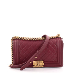 Chanel Boy Flap Bag Quilted Lambskin Old Medium Red 2471301