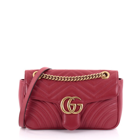c15f3f2934c Buy Gucci GG Marmont Flap Bag Matelasse Leather Small Red 2473905 – Rebag