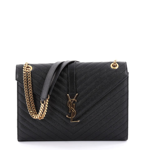 7efdaf26d6e8e8 Buy Saint Laurent Classic Monogram Satchel Matelasse Chevron 2476401 – Rebag