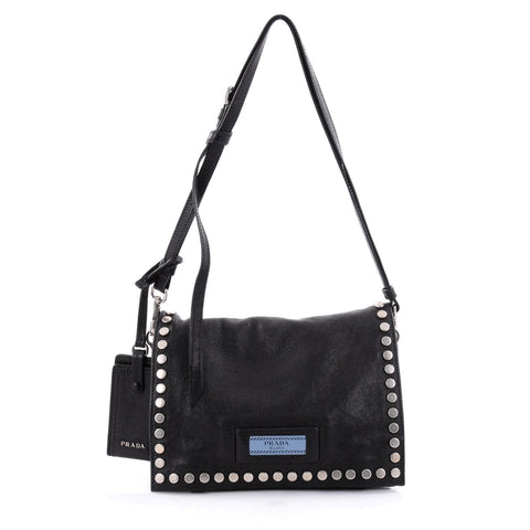 45ad04966176b8 Buy Prada Etiquette Shoulder Bag Studded Calfskin Black 2477801 – Rebag