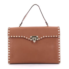 Valentino Rockstud Flip Lock Top Handle Bag Leather Brown 2479501