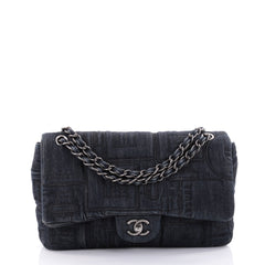 Chanel Classic Flap Bag Embroidered Denim Jumbo Blue 2481202