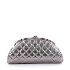 Chanel Timeless Clutch Quilted Aged Calfskin Silver
