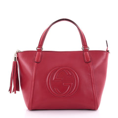 Gucci Soho Convertible Top Handle Bag Leather Medium Red 2484402