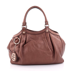 Gucci Sukey Tote Leather Medium Brown 2485002