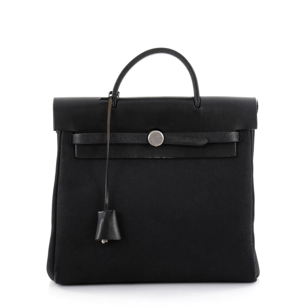 e25a9b655dbb Buy Hermes Herbag Toile and Leather PM Black 2492001 – Rebag