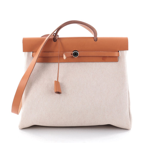 a99b25f97ec8 Buy Hermes Herbag Toile and Leather MM White 2492501 – Rebag