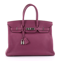Hermes Birkin Handbag Purple Clemence with Palladium 2502102