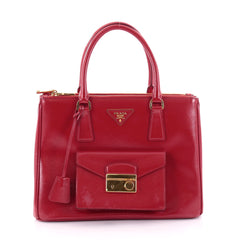 Prada Front Pocket Double Zip Lux Tote Vernice Saffiano Leather Medium Red 2502901