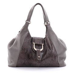 Gucci Greenwich Shoulder Bag Leather and Python Medium Gray 2504401