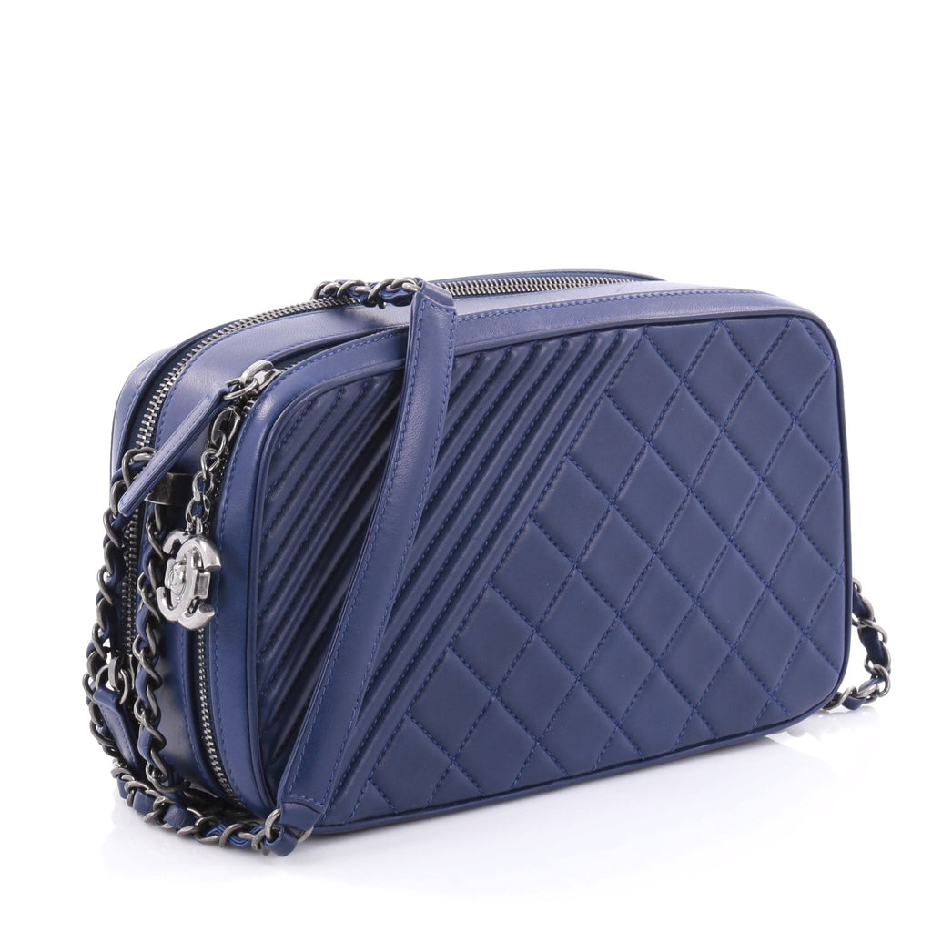 36099a880421 Buy Chanel Coco Boy Camera Bag Quilted Leather Large Blue 2507901 – Rebag