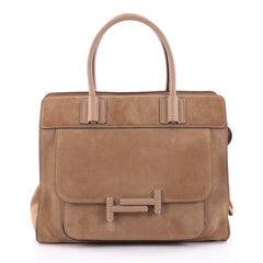 Tod's Double T Satchel Bag Suede Small Brown 2515401