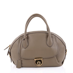 Salvatore Ferragamo Fiamma Satchel Leather Large Gray 2517401