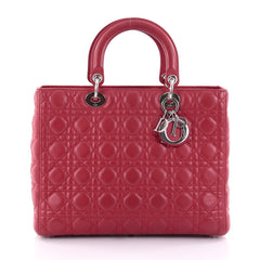 Christian Dior Lady Dior Handbag Cannage Quilt Lambskin Large Red 2519308