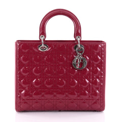 Christian Dior Lady Dior Handbag Cannage Quilt Patent Large Red 2519311