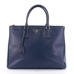Prada Double Zip Lux Tote Saffiano Leather Large Blue 2520801