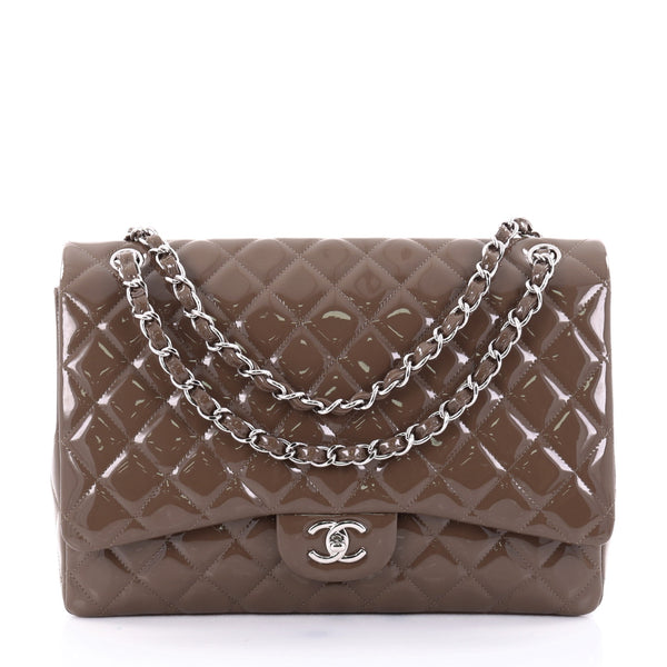 02b000e02974 Buy Chanel Classic Single Flap Bag Quilted Patent Maxi Brown 2523301 – Rebag