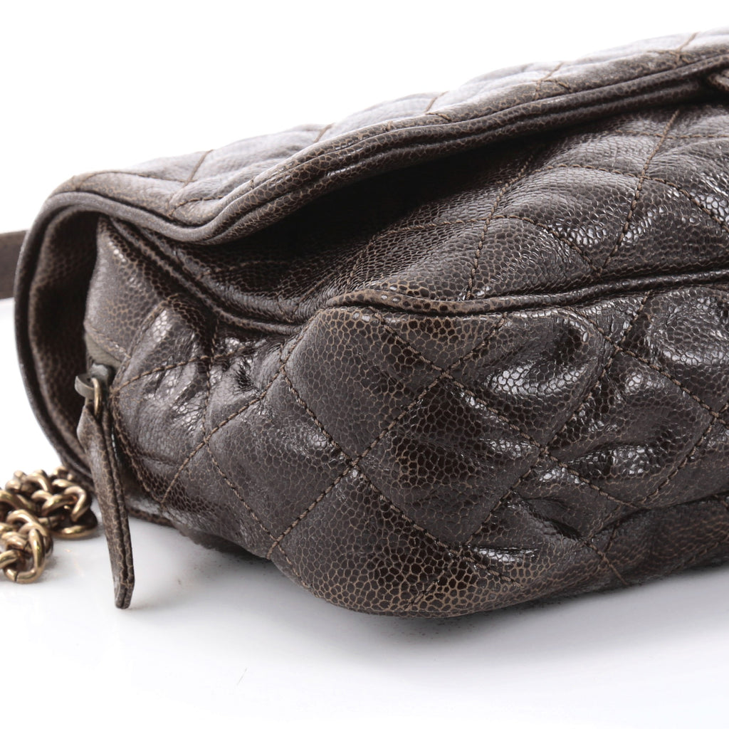 211ac9a3656257 Buy Chanel Shiva Flap Bag Quilted Caviar Large Brown 2524903 – Rebag