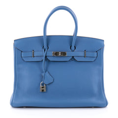 Hermes Birkin Handbag Blue Togo with Palladium Hardware 2528101