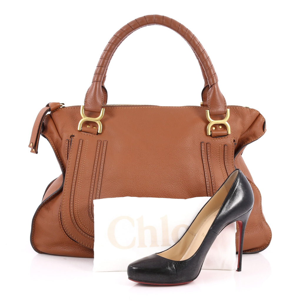 c7b7909a8fe4 Buy Chloe Marcie Shoulder Bag Leather Large Brown 2534102 – Rebag