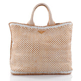 Prada Open Tote Madras Woven Leather Large Yellow 2534501