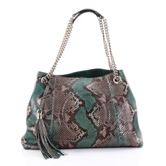 Gucci Soho Chain Strap Shoulder Bag Python Medium Green 2537601