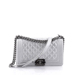Chanel Boy Flap Bag Quilted Perforated Lambskin Old Medium Silver 2541601