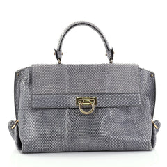Buy Salvatore Ferragamo Sofia Satchel Python Medium Gray 2542101