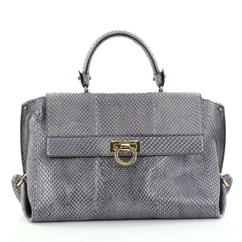 e4f426e20114 Buy Salvatore Ferragamo Sofia Satchel Python Medium Gray 2542101 – Rebag