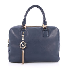 Versace Vanitas Zip Satchel Pebbled Leather Medium Blue 2542801