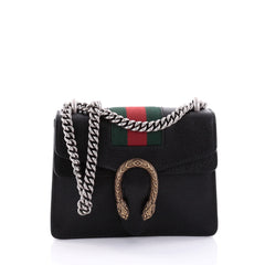 Gucci Web Dionysus Handbag Leather Mini Black 2553501