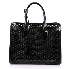 Alexander McQueen Heroine Open Tote Honeycomb Patent Leather Large Black 2555001