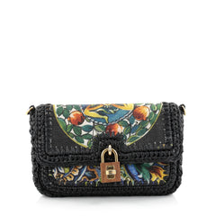 Dolce & Gabbana Miss Dolce Shoulder Bag Raffia and Leather Small Black 2555103