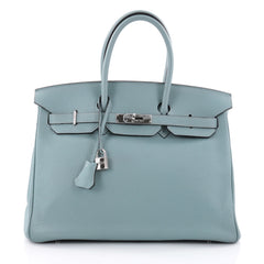 Hermes Birkin Handbag Blue Clemence with Palladium Hardware 35 Blue 2557901